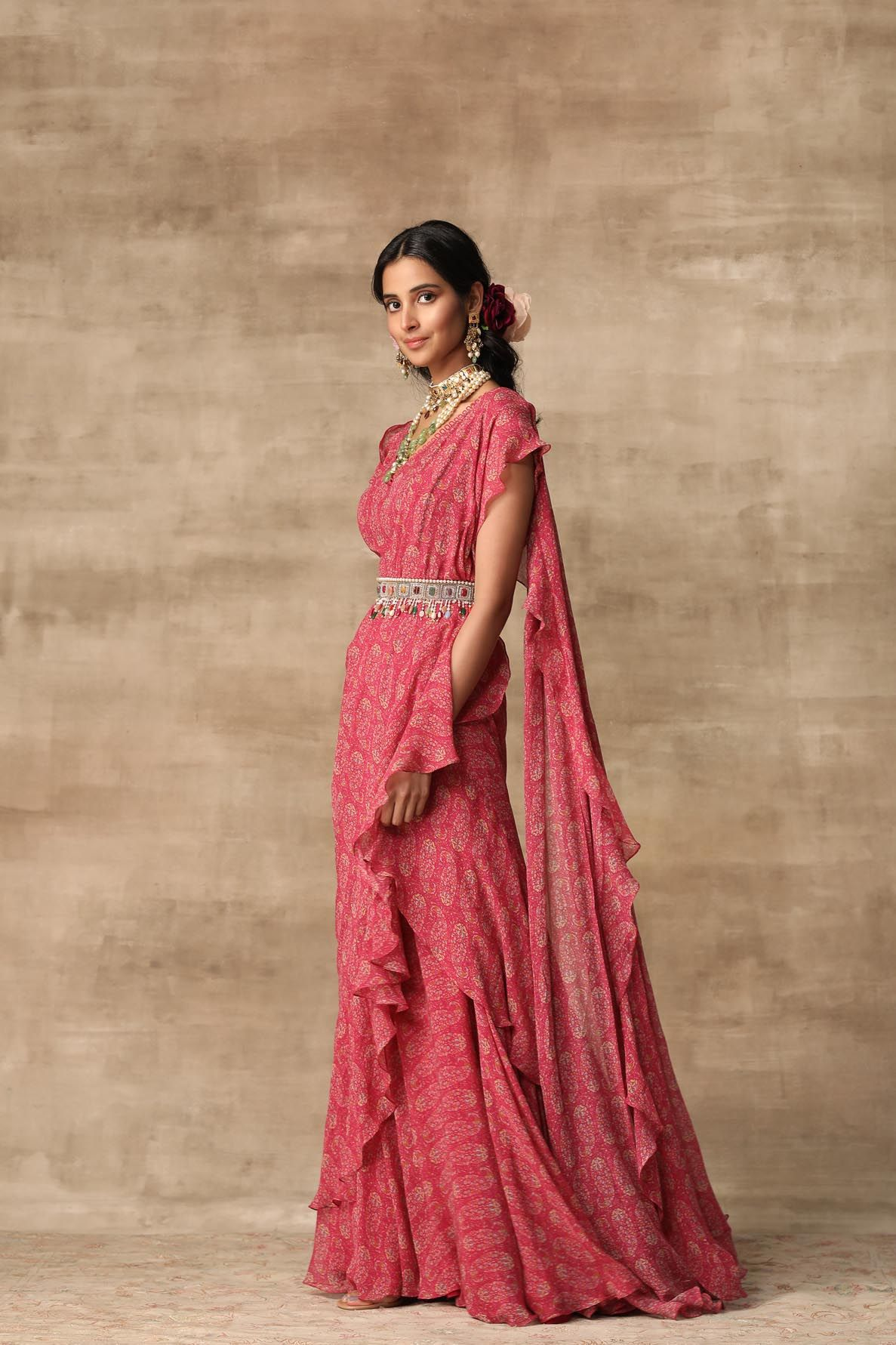 Berry Pink Paisley Printed Chiffon Saree Gown And Ruffle Drape Paired With Multicolour Jewel Belt By Ridhi Mehra Available At Ogaan Online Shop