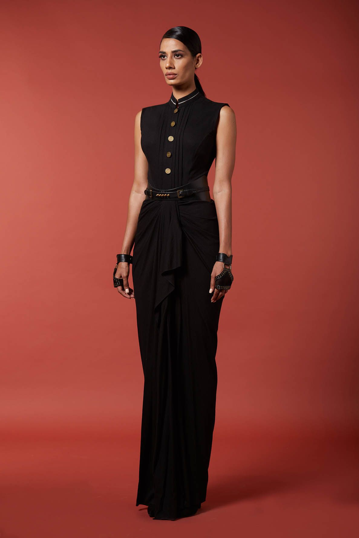Corporal Drape Black Saree Gown By S N By Shantanu And Nikhil Available At Ogaan Online Shop