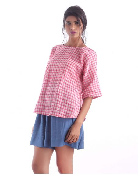 3X9T Sustainable Kala Cotton Pink Check Pocket Top