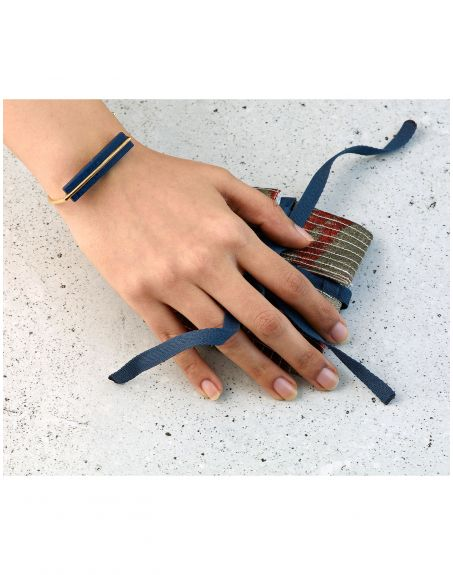 REAL STATE Plank Bangle Blue Sterling silver