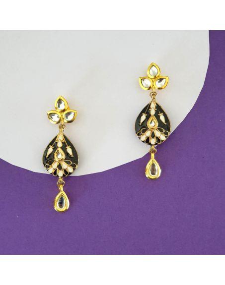 JAIPRI Kundan Meenakari Earrings