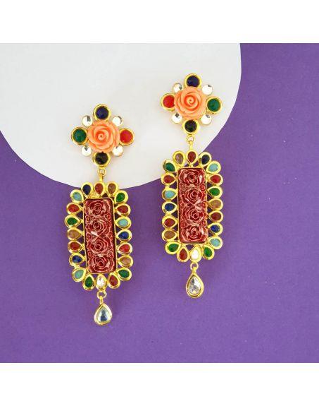 JAIPRI Navratana Earrings