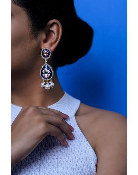 TIZORA Blue Enamelled Earrings