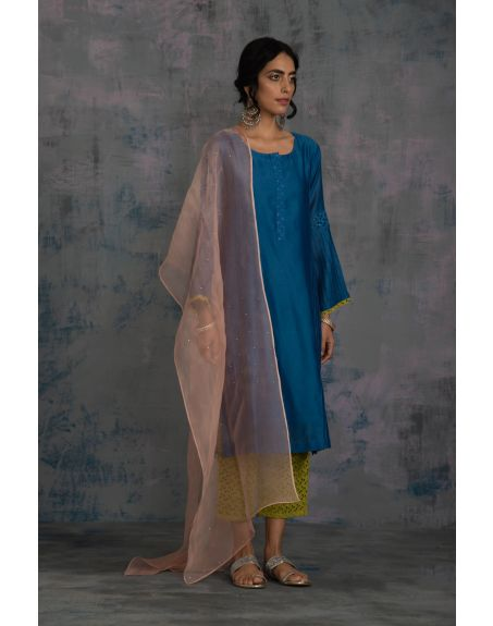CHARKHEE Egyptian Blue Red Flared Sleeves Kurta With Berry Green Pant & Mauve Dupatta - Set Of 3