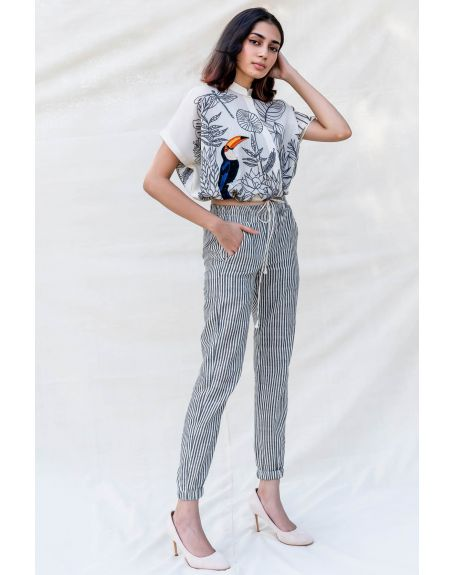 PURVI DOSHI Off-White and Grey Striped Jogger Pants
