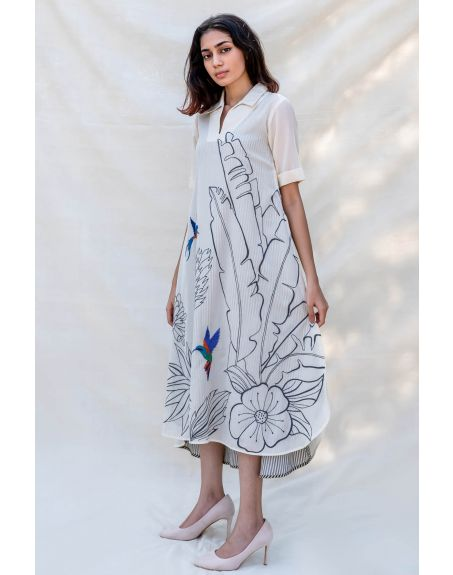 PURVI DOSHI Off-white Collar Shirt Dress with Side-Slit