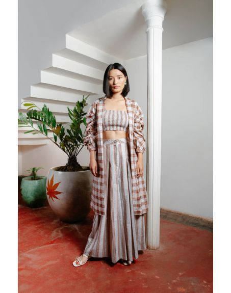 HOUSE OF FETT Lagos Crop Top Jacket And Pants Set