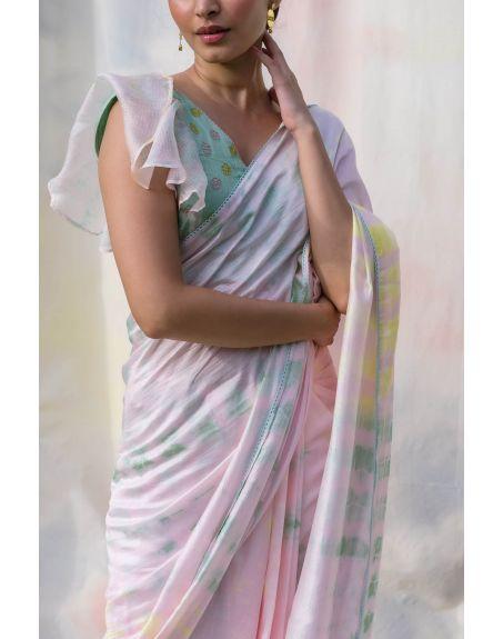 LABEL NIMBUS Multi Coloured Tie & Dye Viscose Silk Saree Set.