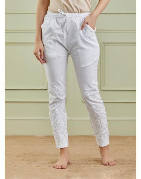 THE CHIKANKARISTS White Cotton Chikankari Pants