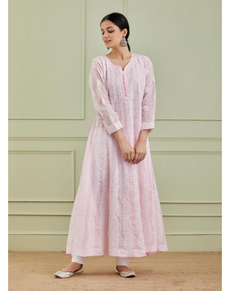 THE CHIKANKARISTS Pink Cotton Chikankari Anarkali