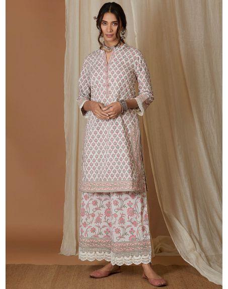 VRAJ White Pink Hand Block Printed Cotton Kurta with Palazzo- Set of 2