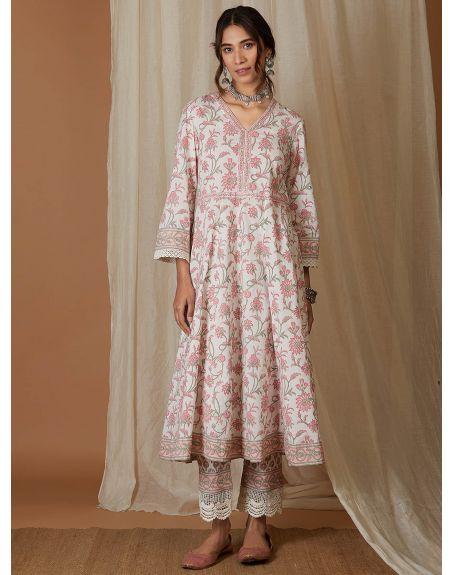 VRAJ White Pink Hand Block Printed Cotton Kalidar Kurta