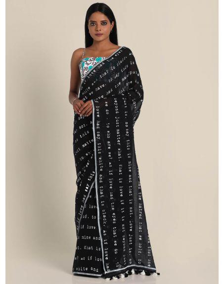 SUTA Black Typographic Printed Pure Cotton Saree