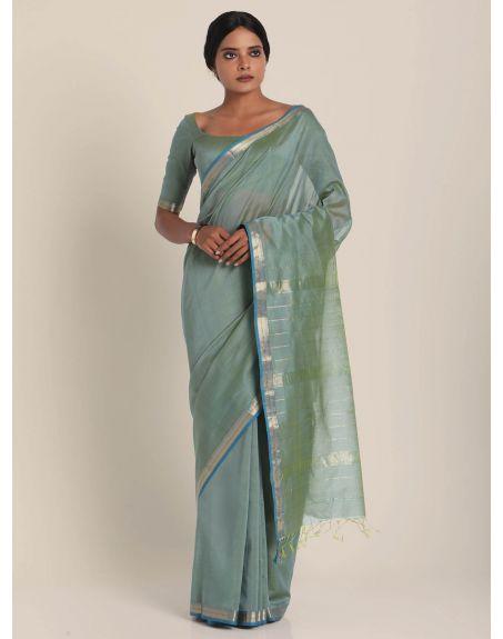SUTA Grey And Blue Maheshwari Silk Saree