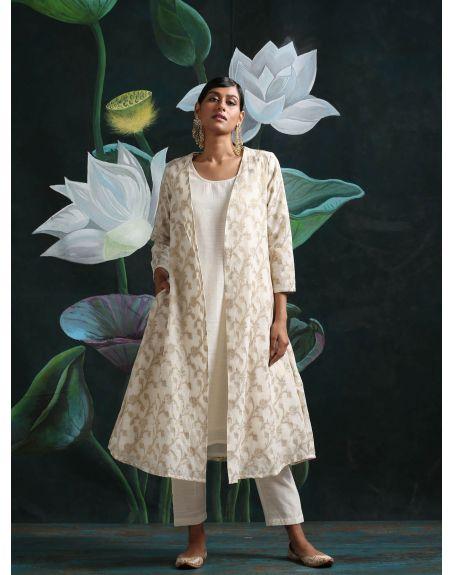 ABHISHTI Cotton Zari Baswada Jacket With Sleeveless Kurta And Pant