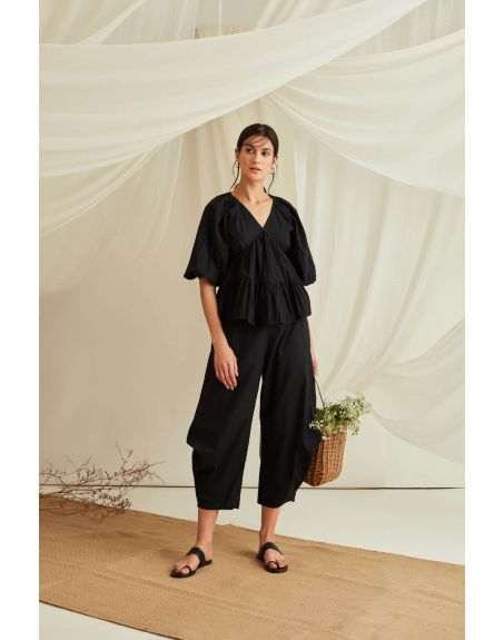 BLUE HOUR Balloon Sleeve Tiered Cotton Poplin Top With Pleated Pants-Midnight Black