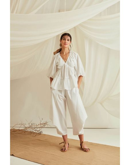 BLUE HOUR Balloon Sleeve Tiered Cotton Poplin Top With Pleated Pants-Marshmallow White