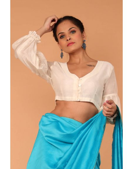 VINUSTO Chanderi Hand Loom Silk Blouse With Balloon Sleeves In Off White