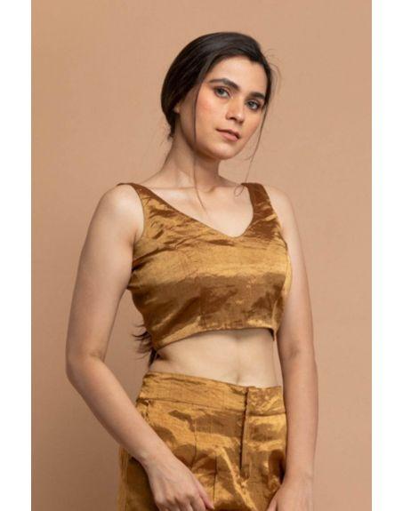 VINUSTO Gold Zari Sleeveless Blouse In Handwoven Fabric
