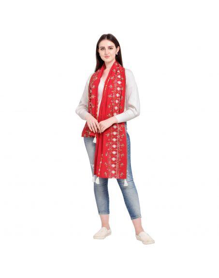 MESMORA Red Khadi Embroidered Scarf