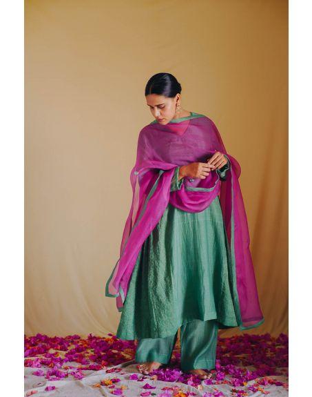 DEETA Gul Rang Silk Cotton Kurta Set With Handcrafted Organza Dupatta