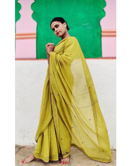 DEETA Handcrafted Yellow Shade Silk Cotton Saree