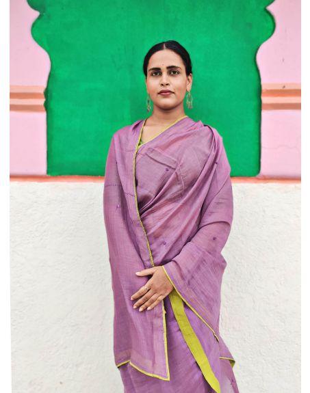 DEETA Handcrafted Mauve Shade Silk Cotton Saree