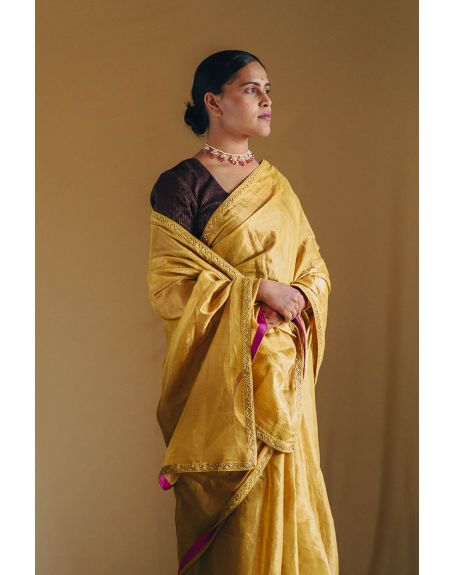 DEETA Sharar Handwoven Silk Tissue Sari