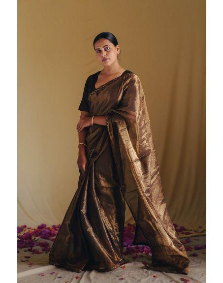 DEETA Sharar Handwoven Silk Tissue Sari Brown