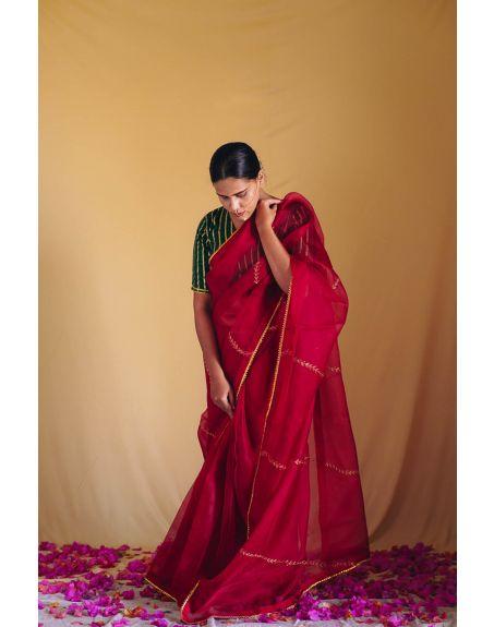 DEETA Gul Rang Handcrafted Red Organza Silk Saree