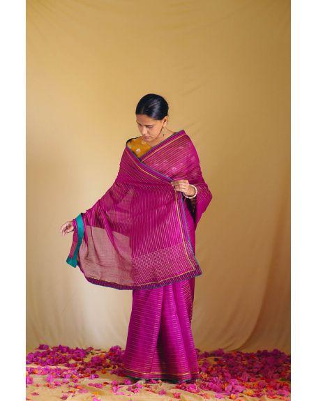 DEETA Rani Pink Handwoven Zari Silk Sari