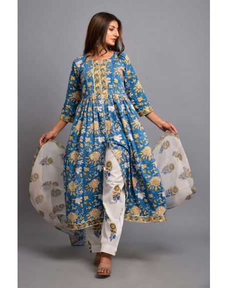 KISWAH CLOTHING Wild Blue Garden Suit Set