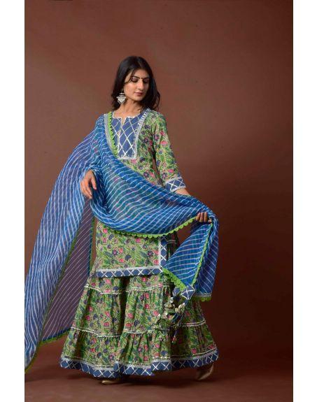 KISWAH CLOTHING Green Amara Suit Set