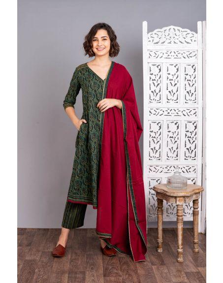 UNTUNG Nargis Suit Set With Dupatta