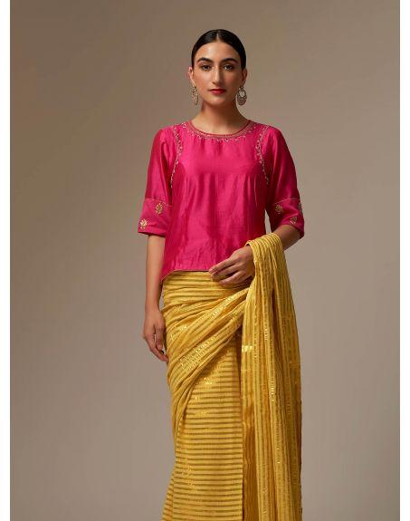ANANTAA Fuchsia Silk Chanderi blouse with hand embroidery