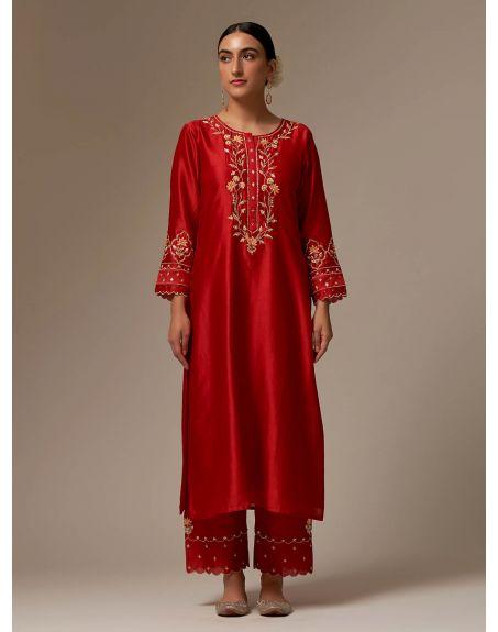 ANANTAA Red Silk Chanderi kurta with hand embroidery