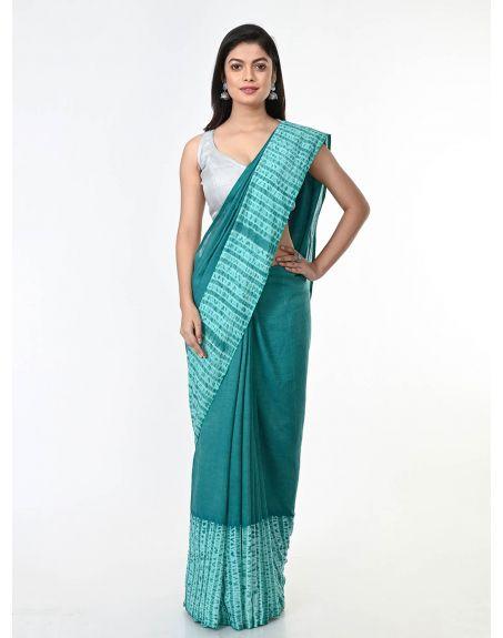 ARTEASTRI Sea Green Handloom Cotton Woven Shibori Saree