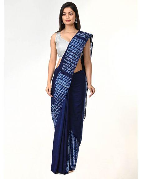 ARTEASTRI Indigo Handloom Cotton Woven Shibori Saree