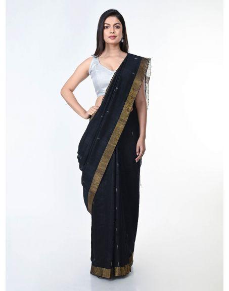 ARTEASTRI Black Gold Handloom Matka Silk Jamdani Saree