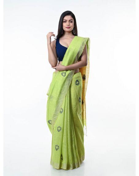 ARTEASTRI Lime Green Handloom Matka Silk Jamdani Saree