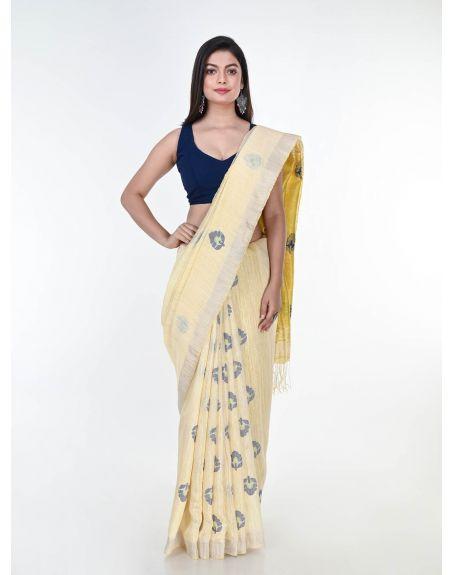 ARTEASTRI Cream Yellow Handloom Matka Silk Jamdani Saree