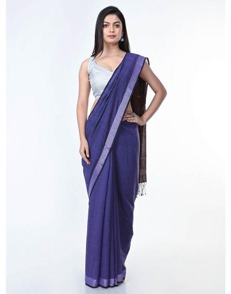 ARTEASTRI Purple Brown Handloom Solid Cotton Saree with Jamdani Pallu