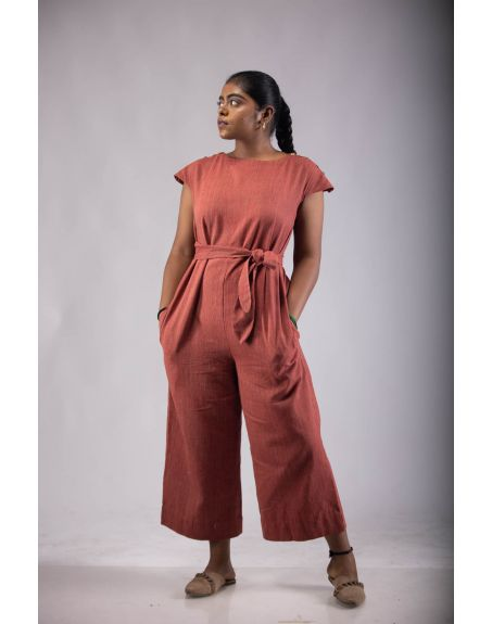 TINTORY Kabia - Wide-Legged Jumpsuit With Adjustable Waist Belt And In-Seam Pockets.
