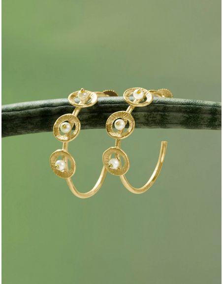 MIKOTO Circular Pearl Hoop Earrings
