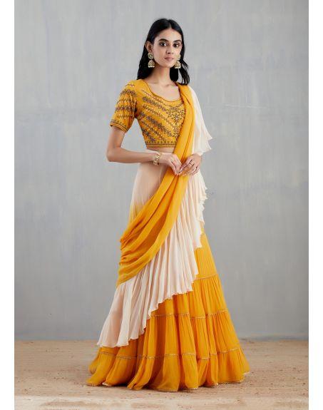KAVITA BHARTIA Yellow and Off White Saree Set