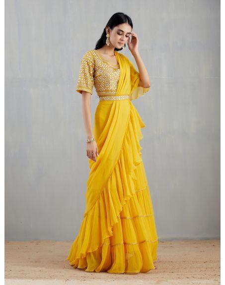KAVITA BHARTIA Yellow Saree Set