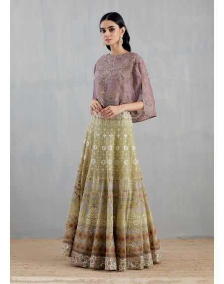 KAVITA BHARTIA Lavender and Sage Green Cape with Skirt