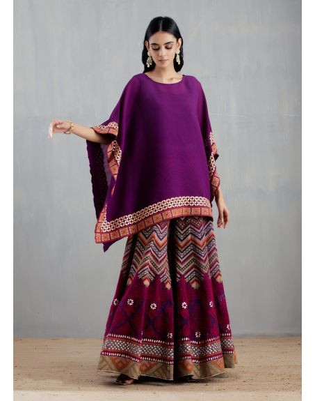KAVITA BHARTIA Purple Poncho with Sharara