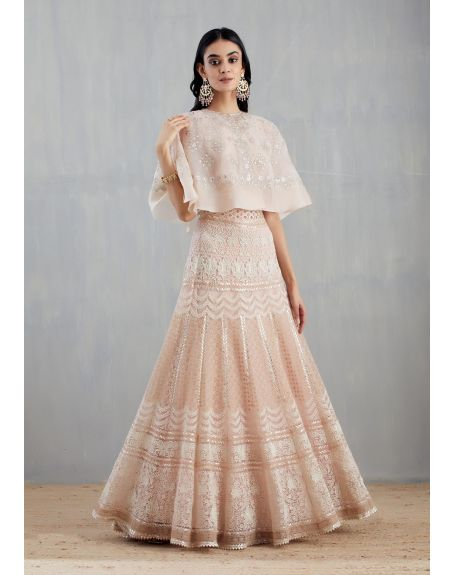 KAVITA BHARTIA Nude Pink Embroidered Cape with Skirt