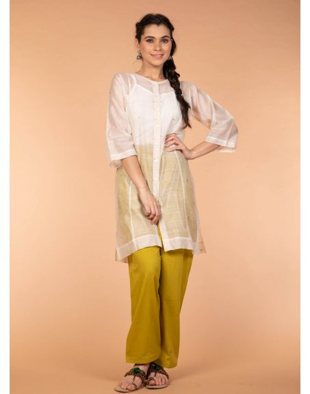 VINUSTO Chanderi Hand Loom Silk Boxy Shirt Kurta In Off White With Ochre Yellow Cotton Pants (Set Of 2)